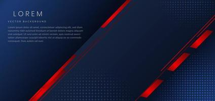 Abstract dark blue template red geometric diagonal elements background with halftone and space for text. vector