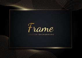 Abstract golden color wave lines background and frame overlap layers on dark background. vector