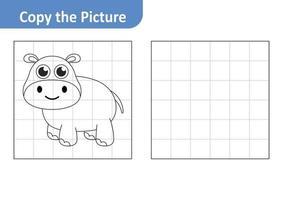 Copie la hoja de trabajo de la imagen para niños, vector de hipopótamo