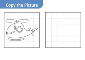 Copy the Picture Worksheet for Kids, Helicopter Vector