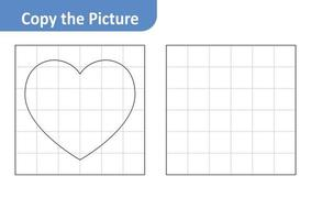 Copy the Picture Worksheet for Kids, Heart Vector