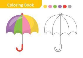 libro para colorear para niños, vector paraguas