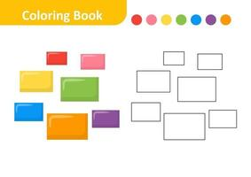 Coloring Book for Kids, Rectangle Vector