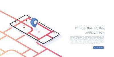 Mobile navigation application in isometric vector illustration