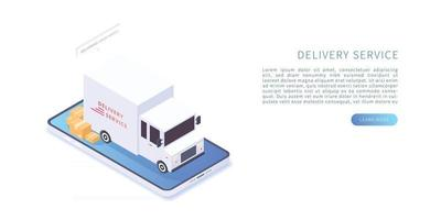 Delivery service with truck and boxes on smartphone vector
