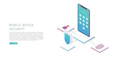Mobile device security in flat isometric vector illustration