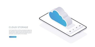 Cloud storage concept in isometric vector illustration