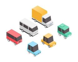 Vehicle set in in isometric vector illustration. Transport set. Urban transport with car, van, truck. Vector illustration.