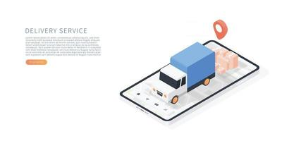 Delivery service on mobile application vector
