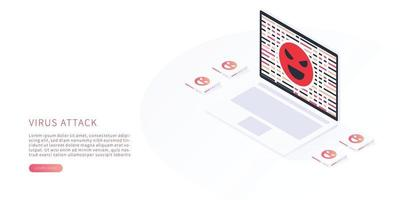 Virus attack and cyber crime concept vector