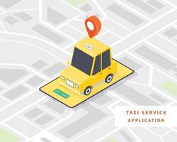 concepto de servicio de taxi en línea de taxi inteligente vector