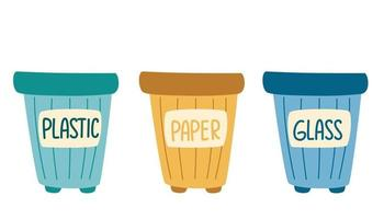 Recycle bins. Garbage cans with sorted garbage set. Waste sorting. Plastic, glass, paper. Environmental protection. Go green. Vector cartoon illustration