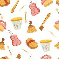 patrón sin costuras con cero elementos de desperdicio. artículos de baño ecológicos. sin plástico. esponja ecológica, cepillo de dientes de bambú, palillos de madera para los oídos. salvar el fondo del planeta. textura de vector de dibujos animados.