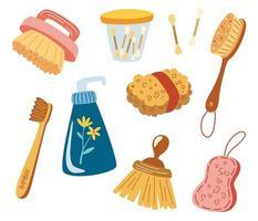 artículos de baño ecológicos. accesorios de baño, artículos de tocador. esponja ecológica, cepillo de dientes de bambú, palillos de madera para los oídos. cuidado bucal, cosmética orgánica. baño cero desperdicio, productos reutilizables. vector