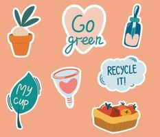 Set of stickers with zero waste concepts. Slogans with cartoon illustrations. Eco friendly tools, zero waste concept, environmental protection, save wild nature and other. Flat colorful vector