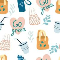Seamless pattern with eco-friendly items. Textile and paper bags, cups. Go green.  Zero waste background. Reusable packaging and accessories creative textile, wrapping paper, wallpaper. Vector