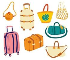 Bags set. Tourist travel suitcases, travel bags, luggage, bags for business trips, holidays, leisure. Summer vacation. Travel cartoon vector illustration.