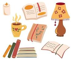 preparado para una lectura acogedora. varios libros de papel, velas, lámpara de mesa, una taza con una bebida caliente. amante de los libros, libros de lectura, concepto de lectores. Mantén la calma y lee libros. ilustración vectorial plana. vector