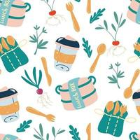 Seamless pattern with eco-friendly kitchen. Lunch box, wooden cutlery, refillable mug. Go green, no plastic. Zero waste kitchen. Accessories textile, wrapping paper, wallpaper. Vector Background