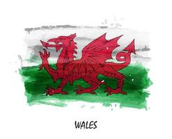 Realistic watercolor painting flag of Wales . Vector .