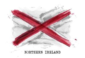 Realistic watercolor painting flag of Northern ireland . Vector .