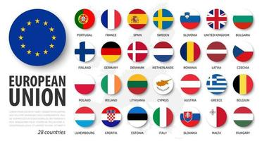 European union . EU and membership flags . Flat circle element design . White isolated background and europe map . Vector .