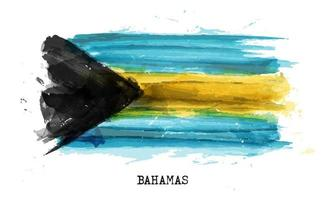 Realistic watercolor painting flag of Bahamas . Vector .