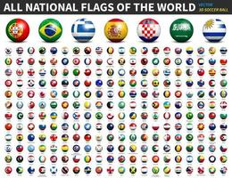 All national flags of the world . 3D Soccer ball or football design . Vector .