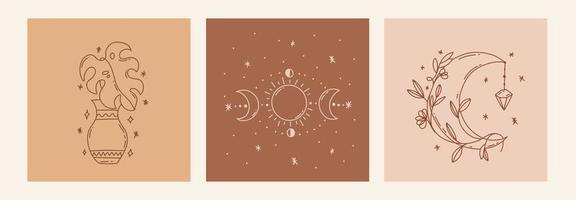 Magic line art poster with moon, leaf, vases, moon phases vector