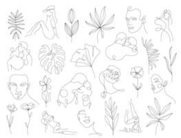 Set linear woman portraits and floral elemants vector