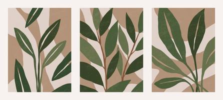 Set of Botanical contemporary wall art poster vector