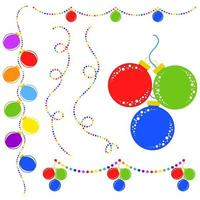 Set of flat colored isolated Christmas toys on a rope. Decoration balls are red, blue, green in a bunch. Multicolored garlands. vector