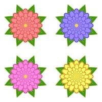 Set of red, purple, yellow, pink flowers with green leaves, isolated on white background. Four options. Suitable for design. vector