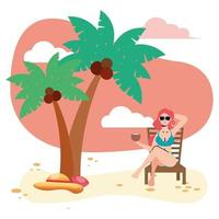 beautiful woman wearing swimsuit seated in beach chair eating coconut vector