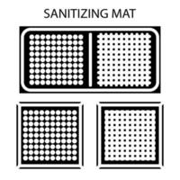 Disinfectant mat. Sanitizing mat. Antibacterial entry rug. Glyph. Disinfecting carpet for shoes. Sterile surface. Two-zone mat for disinfect in shoes. Vector