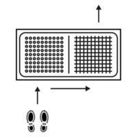 alfombra desinfectante. esterilla higienizante. alfombra de entrada antibacteriana en estilo de contorno. desinfectante de alfombras para calzado. superficie estéril. Alfombrilla de dos zonas para desinfectar el calzado. esquema de movimiento. vector