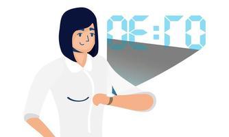 woman using reality virtual tech in smartwatch vector