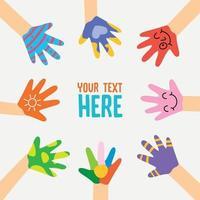 Painted Hands Of Little Children vector