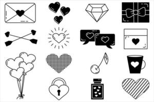 A set of editable vector elements Valentines Day collection with editable stroke Isolated icons on a white background