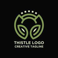 Thistle flower logo free vector
