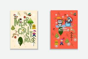 Merry Christmas  Vector trendy abstract illustrations of holiday card with forest, santa claus, deer, lettering, christmas tree and pine. Drawing for poster or pattern.