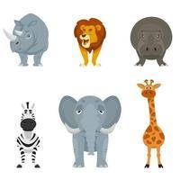 conjunto de vista frontal de animales africanos. vector