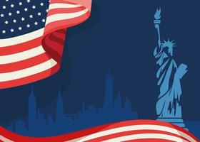 Banner with flag and Statue of Liberty. vector