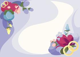 Banner template with flowers and rings. vector