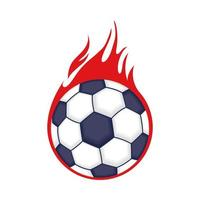 football soccer sport poster with balloon on fire vector