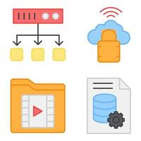 Pack of Database Flat Icons vector