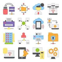 Pack of Server Network Flat Icons vector