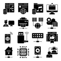 Pack of Smart Home Glyph Icons vector