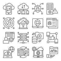 Pack of Cloud Data Transfer Linear Icons vector