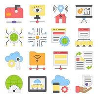 Pack of Cloud Computing Flat Icons vector
